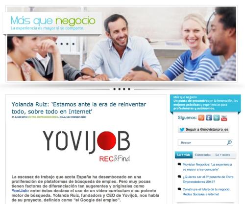 Movistar Mas que Negocio habla de Yovijob
